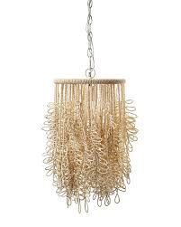 hanging brown grass model beaded pendant light made from wool string abstract shape