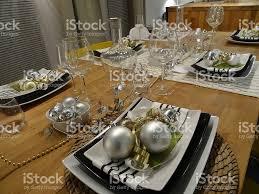 glasses table setting. Black-and-white Christmas Table Setting, Crockery / Plates, Napkins, Decorations Glasses Setting W