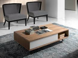 walnut wood coffee table and white