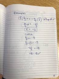 eliminating a fraction using a reciprocal example solving multi step equations 1