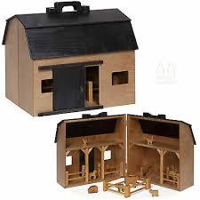 wood toy farm with folding barn play animals fence amish handmade in usa