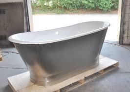 67 cast iron double ended stainless steel slipper pedestal tub
