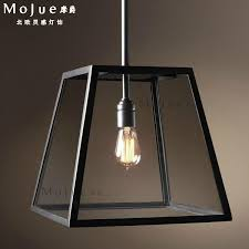 vintage glass box lighting rectangular pendant light american wrought iron pendant light bar counter h kitchen ceiling lights flush ceiling lights from aiwi
