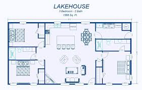 Simple House Blueprints With Measurements Adorable 3 Bedroom Open Floor House Plans Creative Design