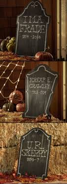 Chalkboard Tombstones offer a final resting place for names, dates and  delightfully frightful phrases.