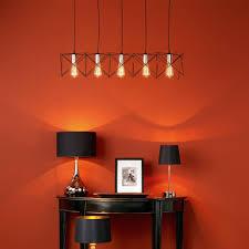midi five light bar pendant in matt black and copper