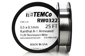 temco flat ribbon kanthal a1 wire 0 5mm x 0 1mm 25 ft resistance a image is loading temco flat ribbon kanthal a1 wire 0 5mm