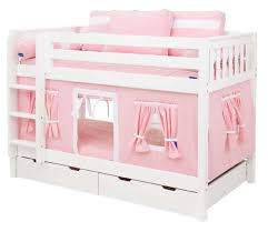Pink and White Playhouse Bunk Bed in White by Maxtrix Kids 700 1