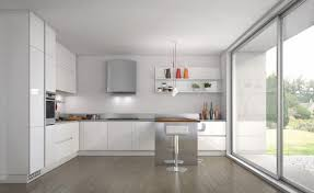 White Country Kitchen Design High Gloss Island Over Cabinets