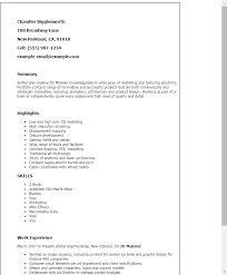 Resume Templates: 3D Modeler