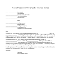 Best Solutions Of Medical Clinic Receptionist Cover Letter Sample