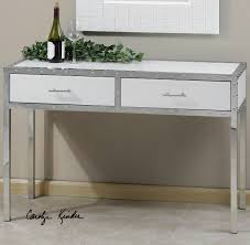 rivet modern white console table with storage  zin home