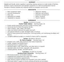 Janitorial Resume Sample Nfcnbarroom Com