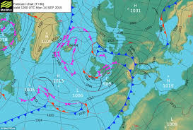 surface pressure charts uk weather forecast predicts 60mph winds and rain tomorrow as