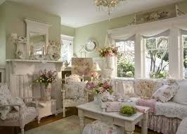 Shabby Chic Living Room With Vintage Furniture And Sage Walls