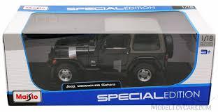 jeep wrangler sahara black maisto 31662 1 18 scale cast model toy car