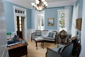 blue and gray canvas art home office tropical with light blue sheer curtain panels french doors