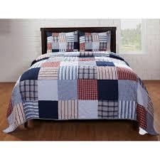 Bradley Red/ Blue Patch 3-piece Quilt Set - Free Shipping Today ... & Bradley Red/ Blue Patch 3-piece Quilt Set Adamdwight.com