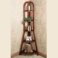 corner shelves furniture. Furniture. Curvy Brown Polished Wooden Tall Corner Shelves With Five Row Shelf On Grey Floor Furniture