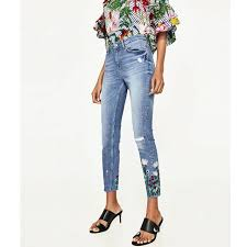Ladies Jeans Trousers Embroidery Flower Denim Pants Casual