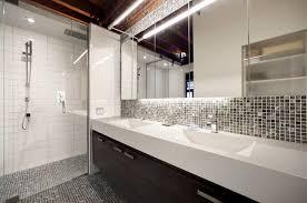 bathroom backsplash. Inspiration For A Contemporary Black Tile Alcove Shower Remodel In Montreal With An Integrated Sink, Bathroom Backsplash