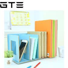 gte creative diy wooden desk organizer office desktop cd holder file storage rack shelf books random