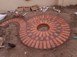 bricks patio round garden ideas brick