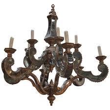 antique wood and mirror chandelier for