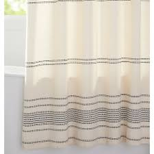 Ivory Black Woven Striped Shower Curtain Rejuvenation