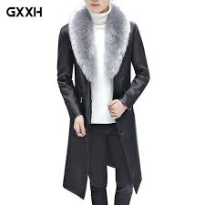 2018 new winter blazer fur collar long section men fur coat mens business casual leather jacket