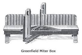 metal miter box. he marketed them as the greenfield miter box and goodell steel . metal e