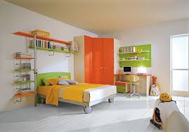 custom wardrobe in orange perfectly fits into the corner from casamodern
