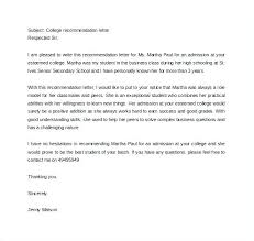 Sample College Reference Letters Sample Recommendation Letters Letter Of College For Graduate School