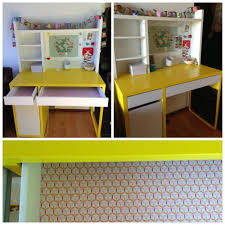 ikea micke desk for my 6 year old contact paper added in the drawers