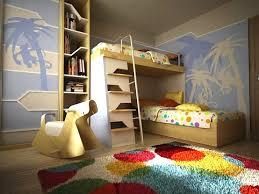 kids bedroom floor ideas with modern area rug and bunk beds
