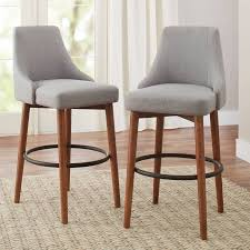 Better Homes and Gardens Reed Mid Century Modern Barstool, Set of 2, Smoke