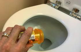 Image result for prescription bottles empty in toilets