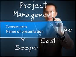 Powerpoint Project Management Templates Business Man Writing Project Management Concept Of Time Cost And Scope Powerpoint Template Infographics Slides