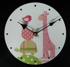 clock french country vintage inspired wall clocks time pink giraffe 29cm new