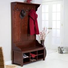 Cherry Finish Wood Hall Tree Coat Rack Aesthetic Amish Entryway Furniture Hall Tree Storage Using Dark 66