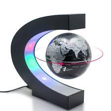 perpetual motion floating globe office desk toy rotating globe magnetic led lit