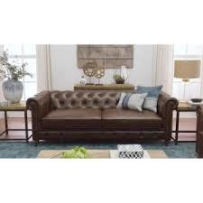 Internet #203195558. +13. Home Decorators Collection Gordon Brown Leather  Sofa