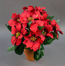 Details Zu Großer Weihnachtsstern Im Topf 38cm Rot Pf Künstliche Poinsettie Kunstblumen