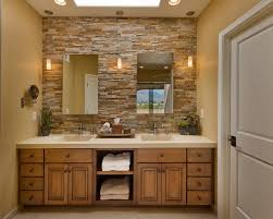 latest stacked stone wall bathroom
