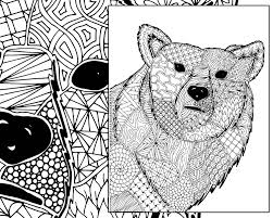 Small Picture zentangle bear coloring sheet animal coloring zentangle