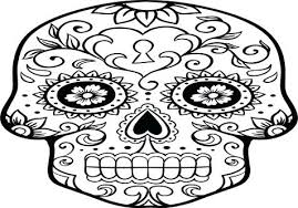 Day Of The Dead Skull Coloring Pages Flaming Skull Coloring Pages