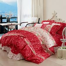 Red Polka Dot Ruffled Bowtie Lace Girls Bedding