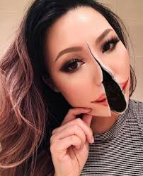 split face makeup illusion photo insram mimi choi