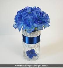 Two-tone blue, silver, rhinestone, crystal, floral arrangement, centerpiece,
