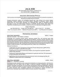 Industrial Engineering Resume Free Resume Templates 2018
